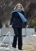 Michelle Hunziker dressed in a pinstripe blazer goes for a walk by the sea before the attending the Sanremo Festival, Italy
