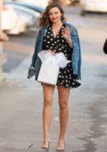 Miranda Kerr wears a polka dot mini dress as she arrives to make an appearance on 'Jimmy Kimmel Live' in Los Angeles