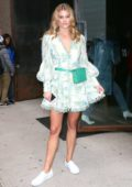 Nina Agdal leaving the Zimmermann Fashion Show at Spring Studios wearing a short floral dress in New York City