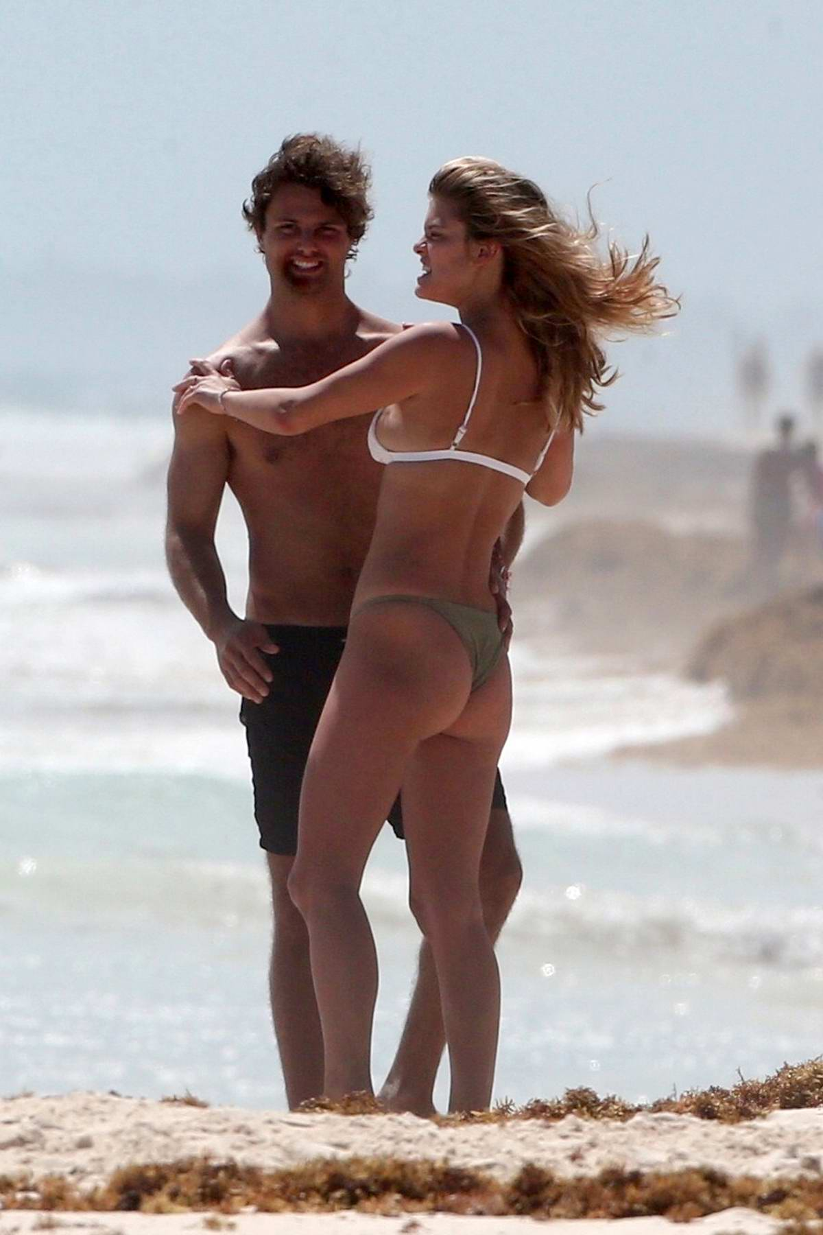 Nina Agdal wears a bikini as she enjoy the beach with boyfriend Jack Brinkley Cook in Tulum, Mexico