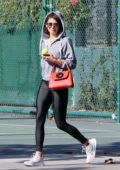 Nina Dobrev takes her dog at the dog park with her brother Alexander Dobrev in Los Angeles
