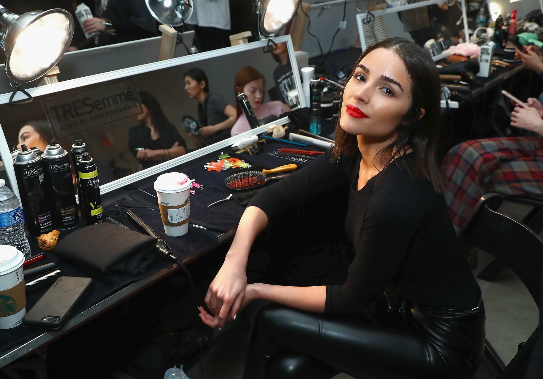 Olivia Culpo at backstage with TRESemme at Sally La Pointe during New York Fashion Week in New York City