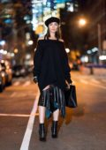 Olivia Culpo wears Monse, Ferragamo shoes and handbag with a Dior hat while out in Soho, New York City