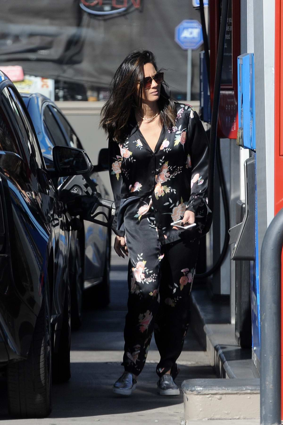 Olivia Munn spotted at a gas station in Los Angeles