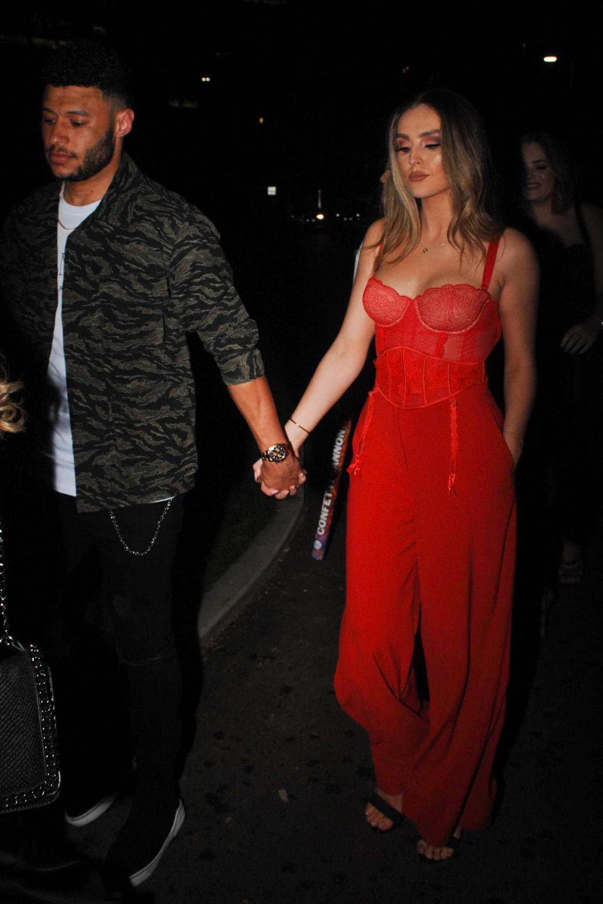 Perrie Edwards and her boyfriend Alex Oxlade-Chamberlain seen leaving Menagerie Restaurant & Bar in Manchester, UK