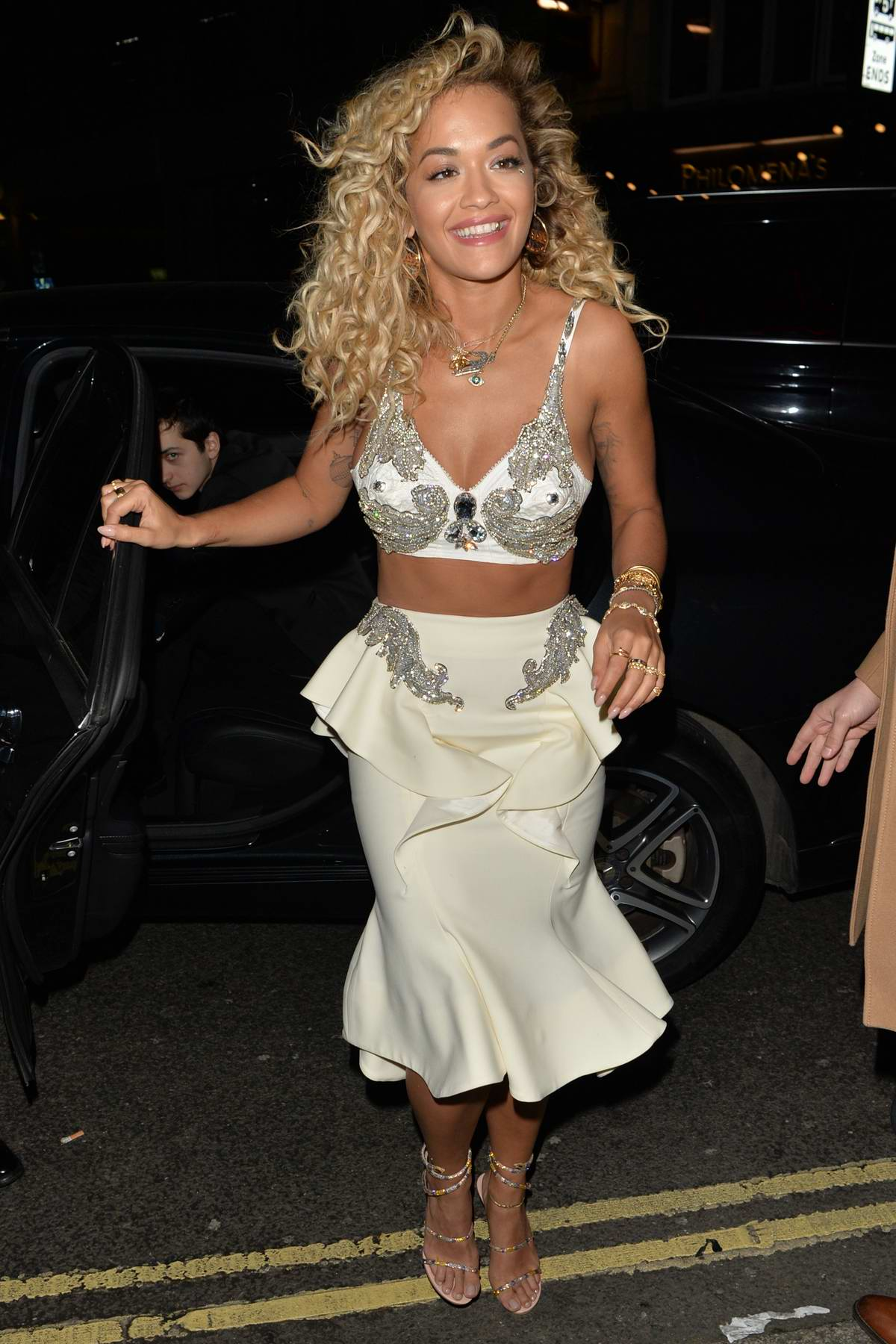Rita Ora arrives at the Warner Brother after-party at Freemasons in London