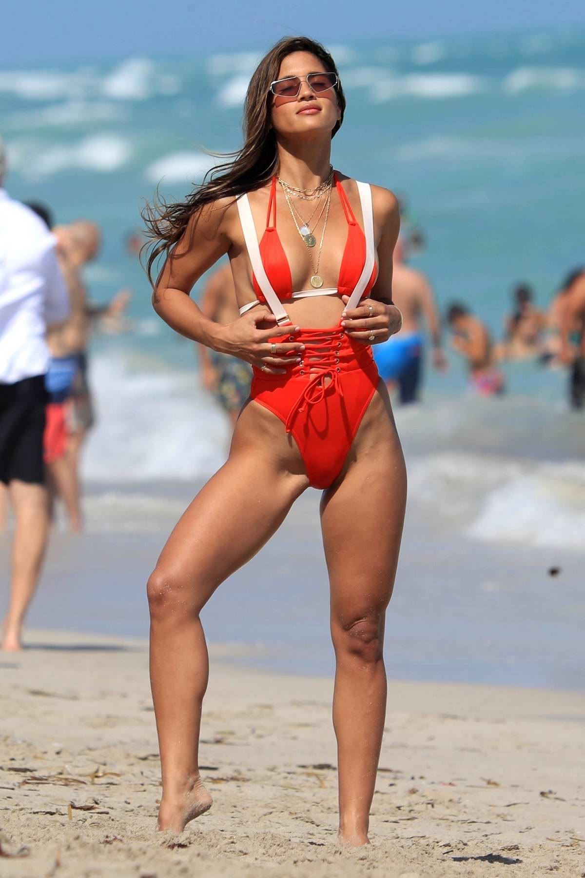 Rocky Barnes hits the beach in a red bikini for an impromptu photoshoot in Miami