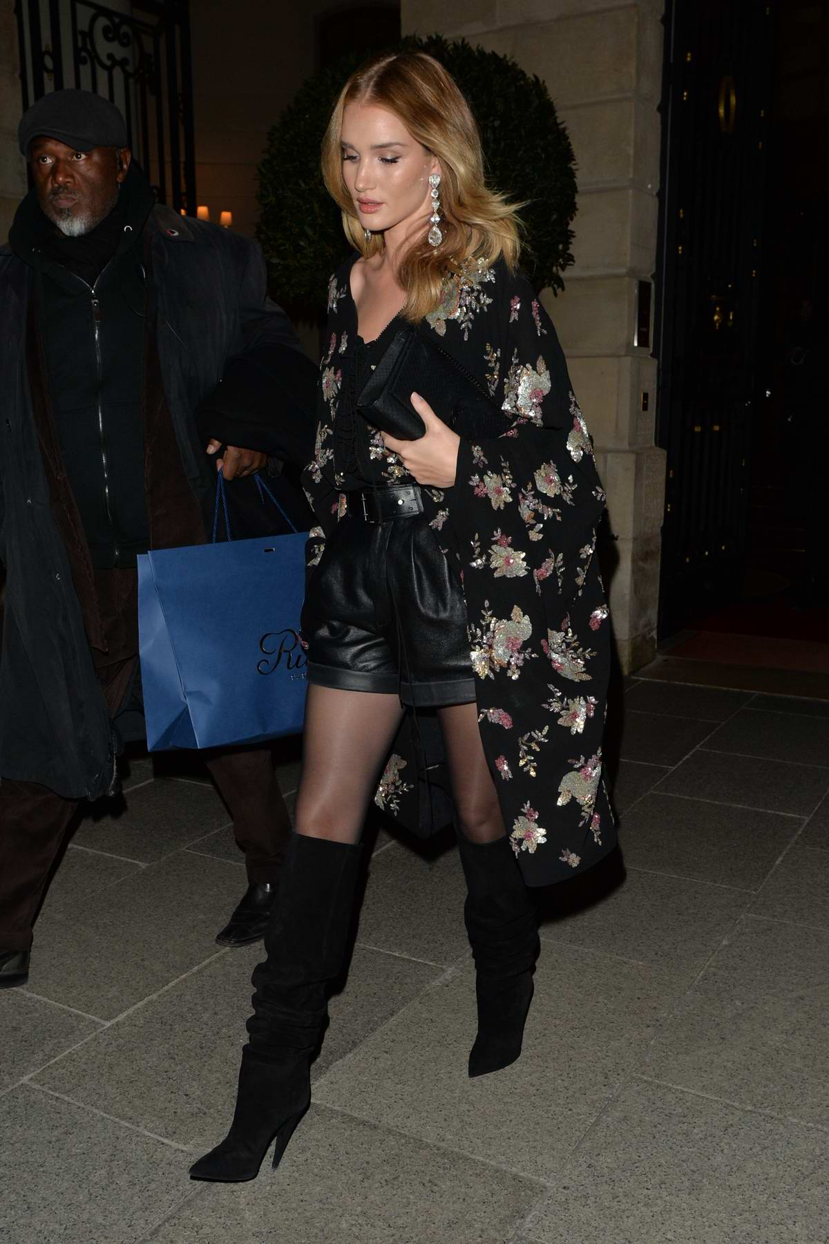 Rosie Huntington-Whiteley leaving the YSL Fashion Show during Paris Fashion Week, France