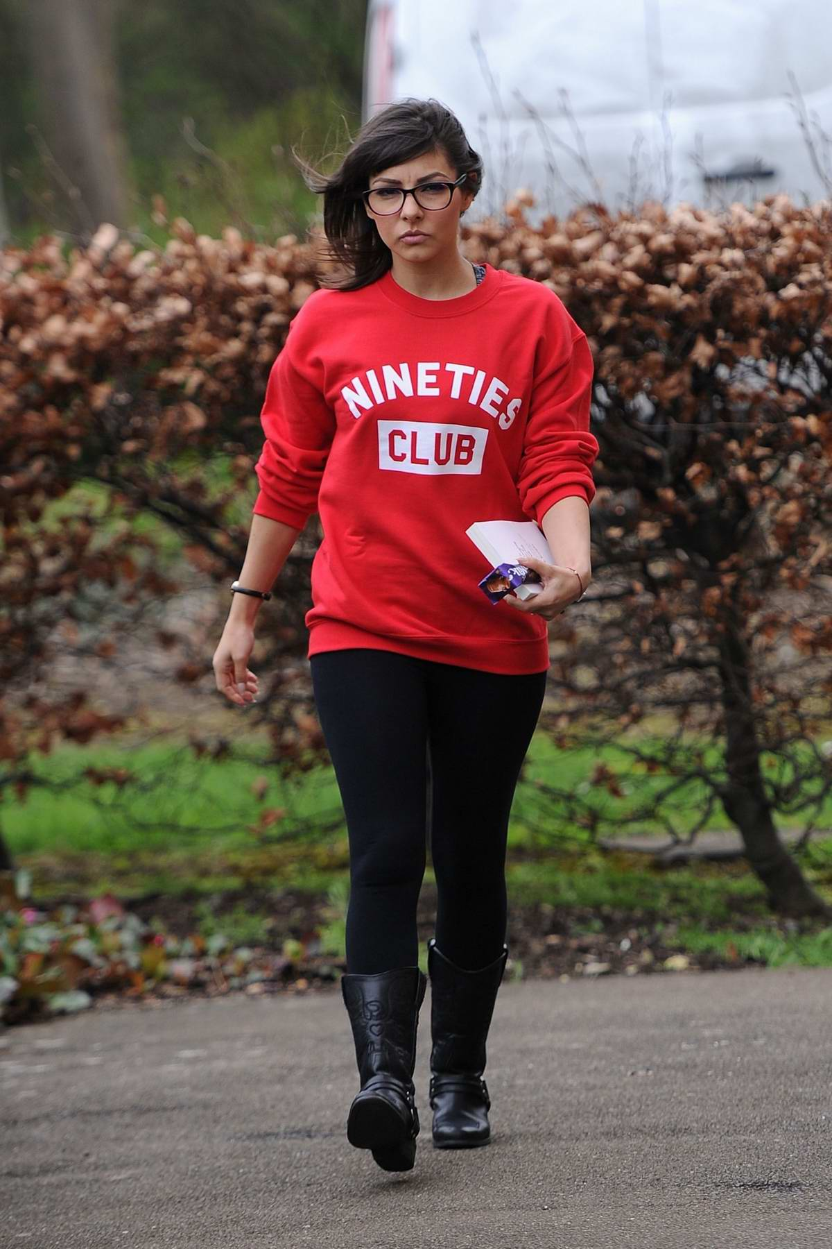Roxanne Pallett spotted wearing a red 'Nineties Club' sweatshirt while out in Yorkshire, UK