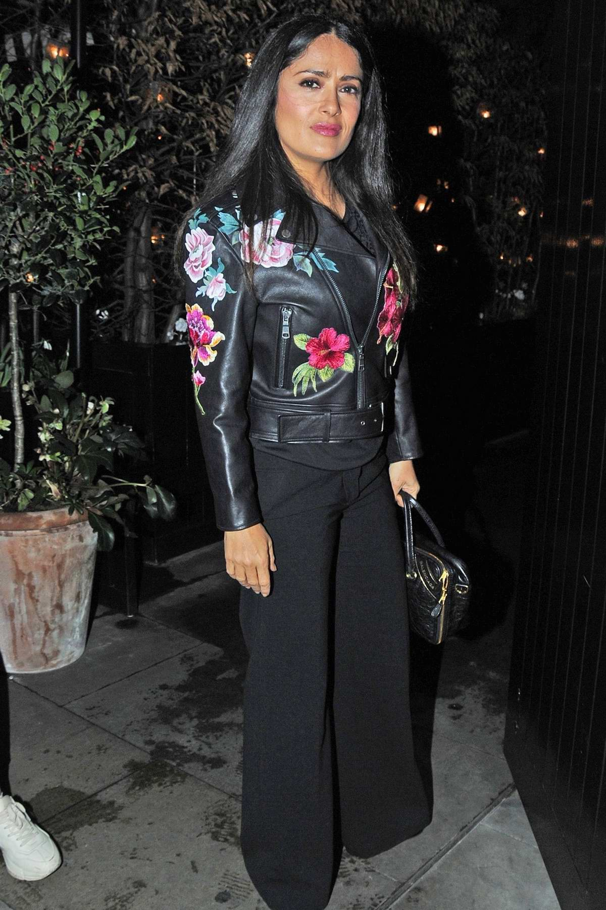 Salma Hayek spotted outside the Chiltern Firehouse in London