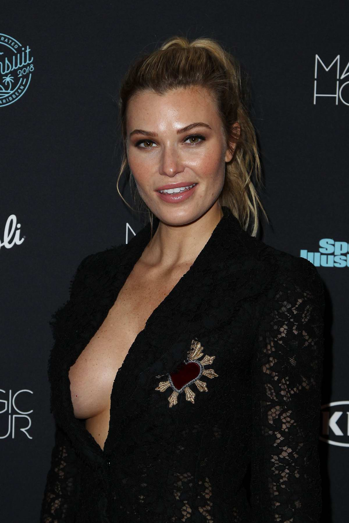 Samantha Hoopes attends Sports Illustrated Swimsuit 2018 Launch Event in New York City