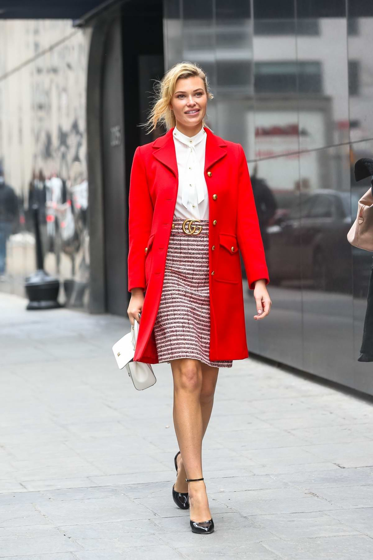 Samantha Hoopes sports a red Gucci blazer as she visits FOX 5 to make an appearance on 'Good Day' in New York City