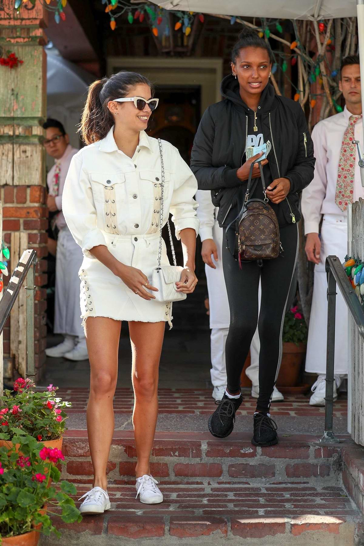 Sara Sampaio and Jasmine Tookes enjoyed a fancy meal today at 'The Ivy' in West Hollywood, Los Angeles