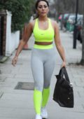Sophie Kasaei heads to the gym for her morning workout in London