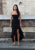Tahnee Atkinson spotted wearing a black dress during a photoshoot in Sydney, Australia