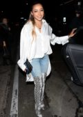 Tinashe wears snakeskin thigh high boots as she leaves Craig's restaurant after having dinner in West Hollywood, Los Angeles