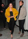 Vale Genta in a yellow fur jacket leaving after dinner at Craig's in West Hollywood, Los Angeles