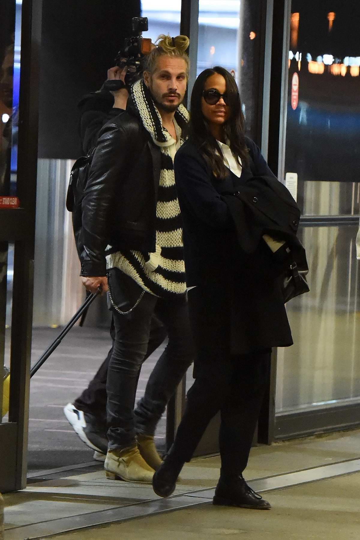 Zoe Saldana and husband Marco Perego touch back down in Los Angeles