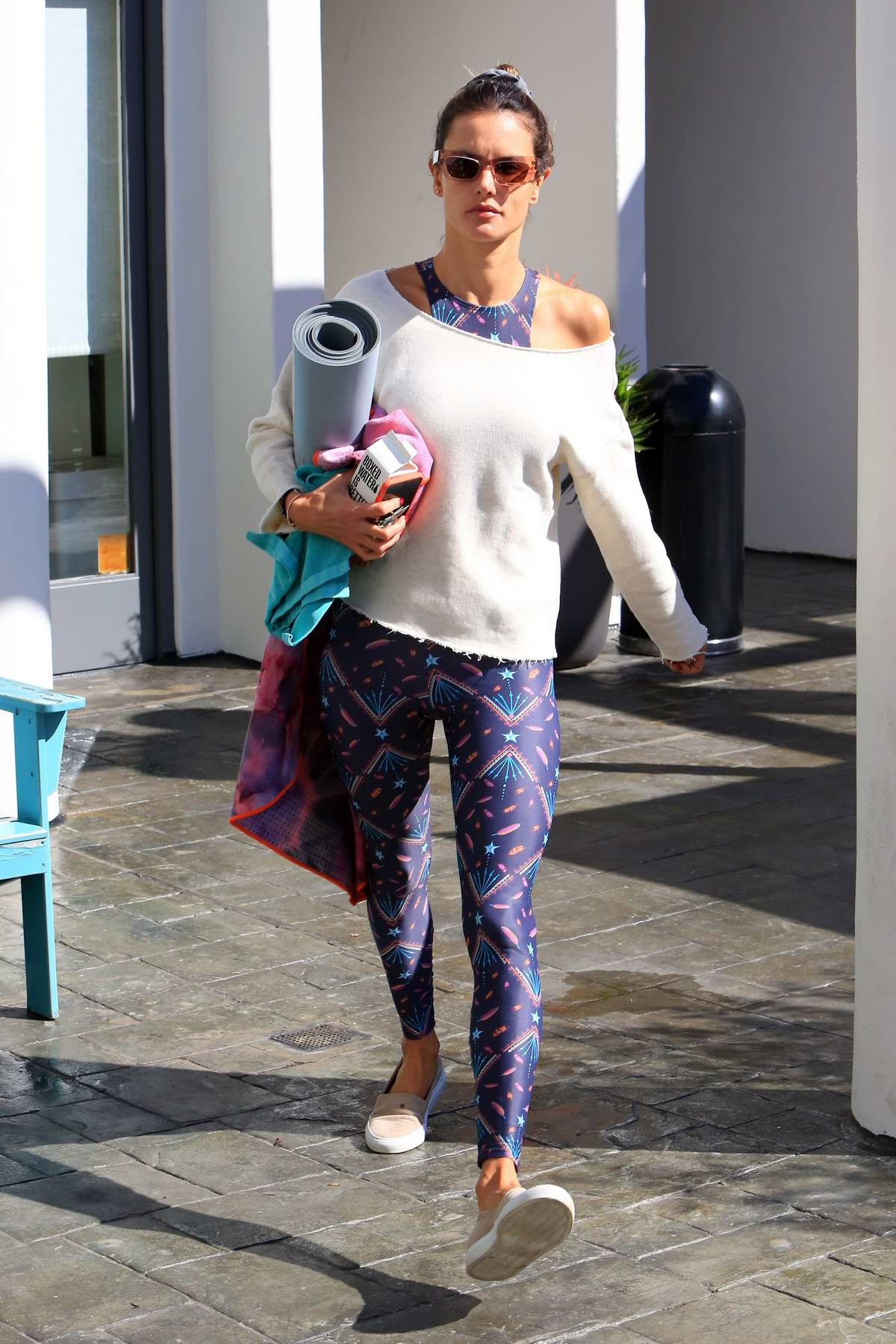 Alessandra Ambrosio heads out after finishing her yoga class in Brentwood, Los Angeles