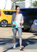 Alessandra Ambrosio steps out in a pair of glittering gradient leggings for a pilates class before heading out in Brentwood, Los Angeles