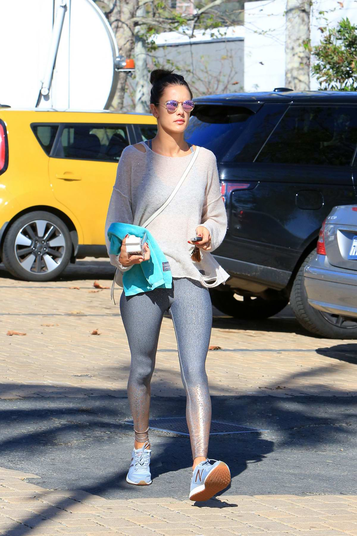 Alessandra Ambrosio Steps Out In A Pair Of Glittering Gradient
