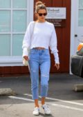 Alessandra Ambrosio wears a white sweater and capri jeans while out shopping at Brentwood Country Mart in Los Angeles