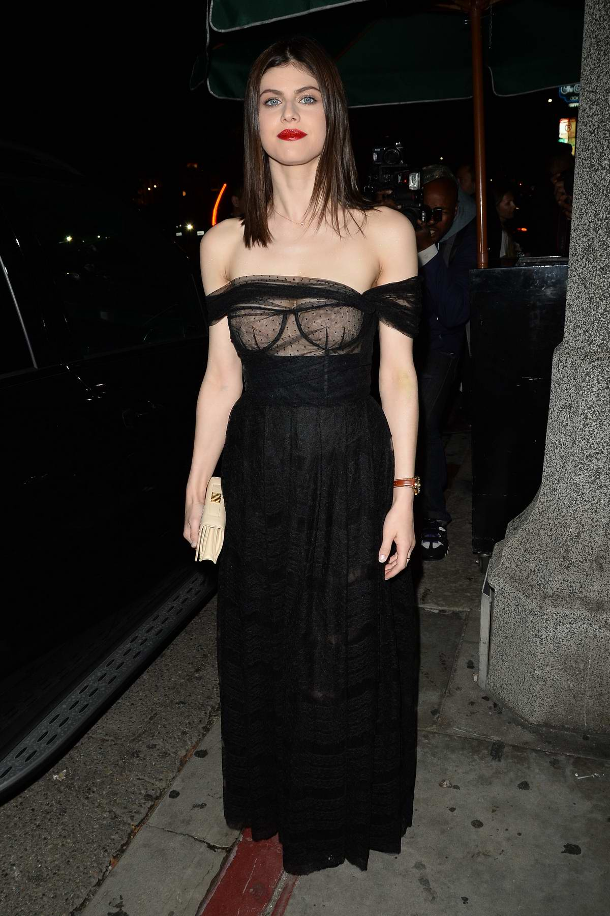 Alexandra Daddario attends Dior Addict Lacquer Pump Launch party at Poppy in West Hollywood, Los Angeles