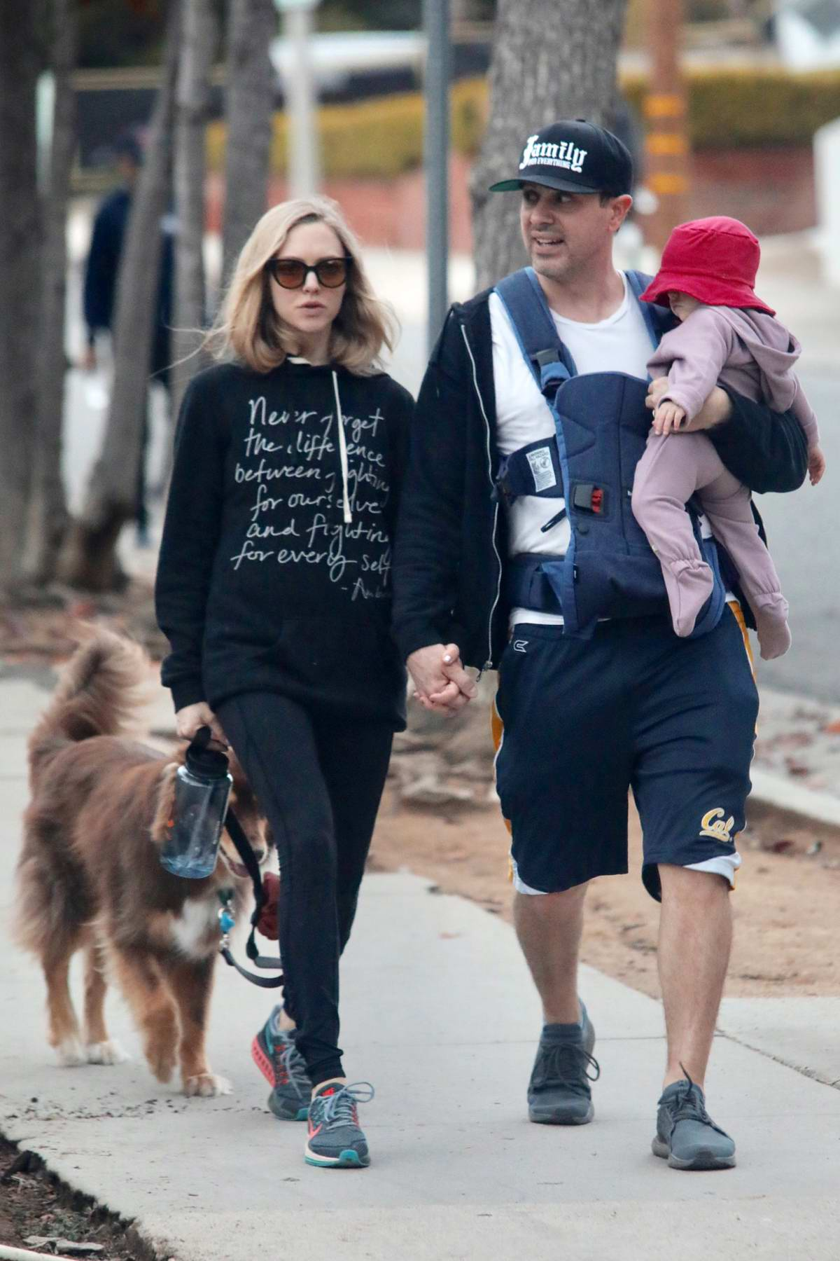 amanda seyfried out for a walk with her husband and ...