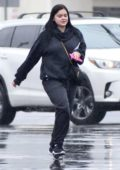 Ariel Winter stops by a CVS Pharmacy on a rainy day in Studio City, Los Angeles