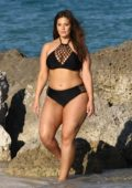 Ashley Graham sizzles in a black bikini during a photoshoot at the beach in Miami, Florida - Set 02