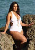 Ashley Graham wears a white swimsuit during a photoshoot at the beach in Miami, Florida - Set 03