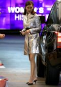 Bella Hadid shines in a silver metallic dress at the Soho house in Los Angeles