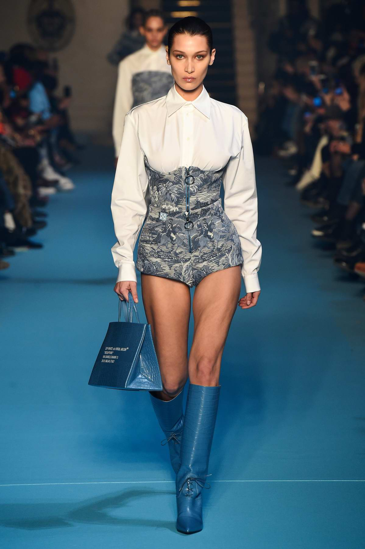 Bella Hadid walks for the Off-White Show, Fall Winter 2018-19 during Paris Fashion Week, France