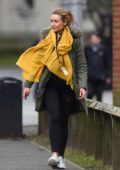 Catherine Tyldesley spotted in a parka paired with a yellow scarf as she heads to work in Manchester, UK