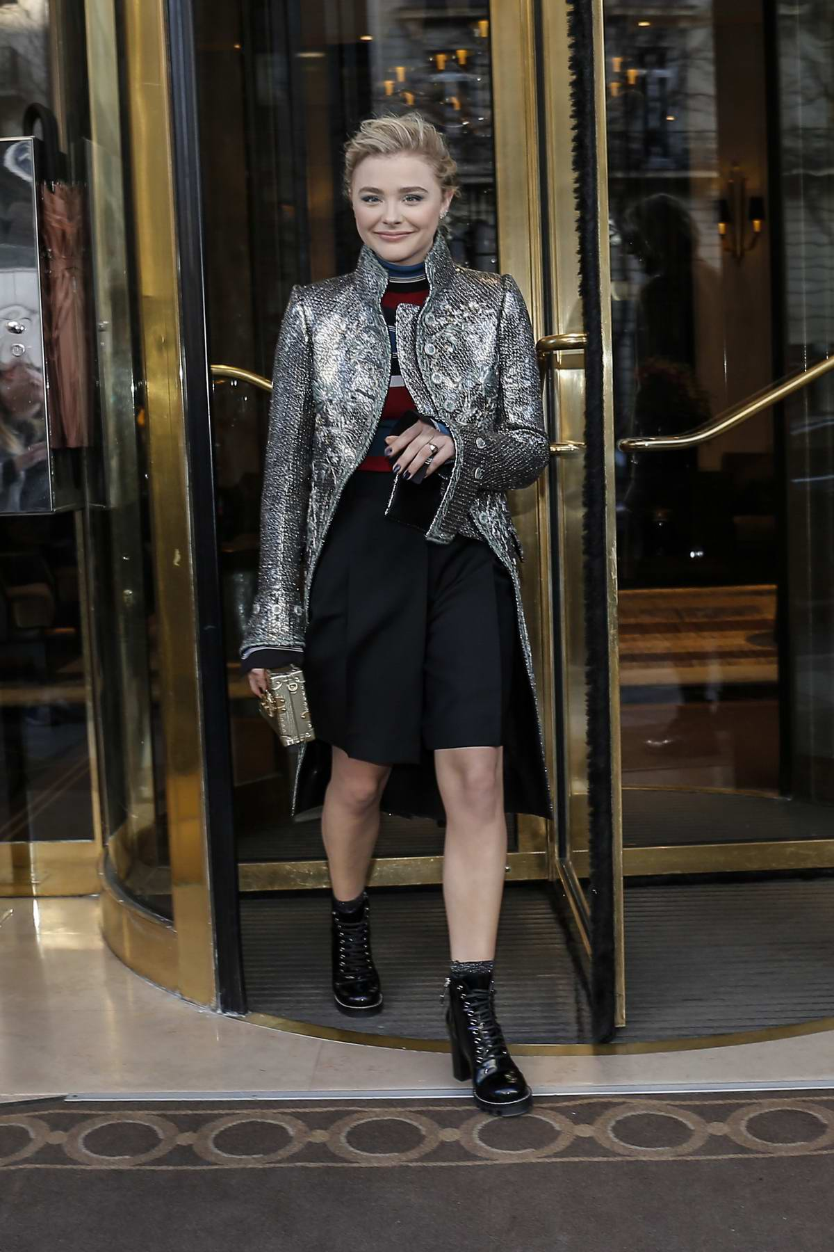Chloe Grace Moretz leaves her hotel with her brother during Paris Fashion Week, France