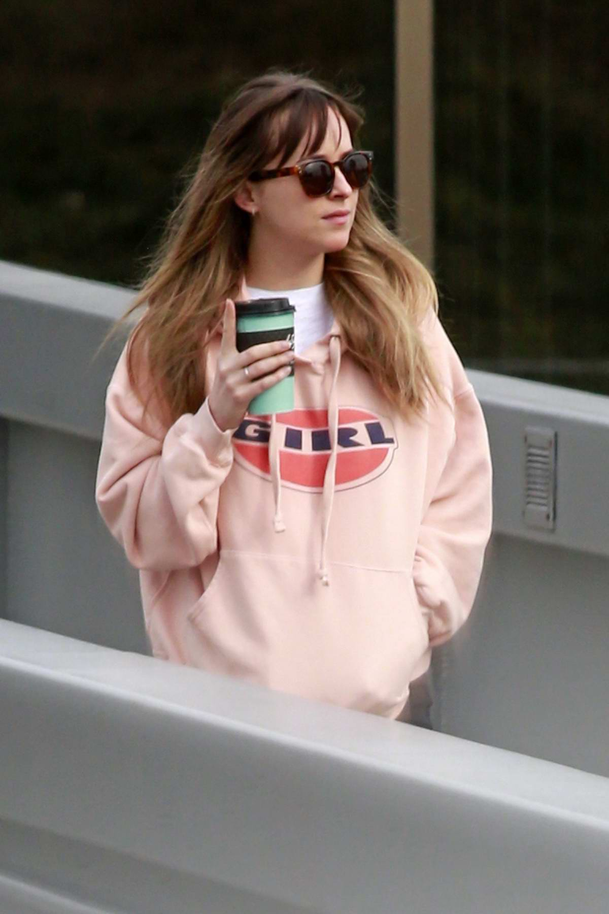 Dakota Johnson was spotted leaving the studio after a brief visit on a day off from work in Burnaby, British Columbia, Canada