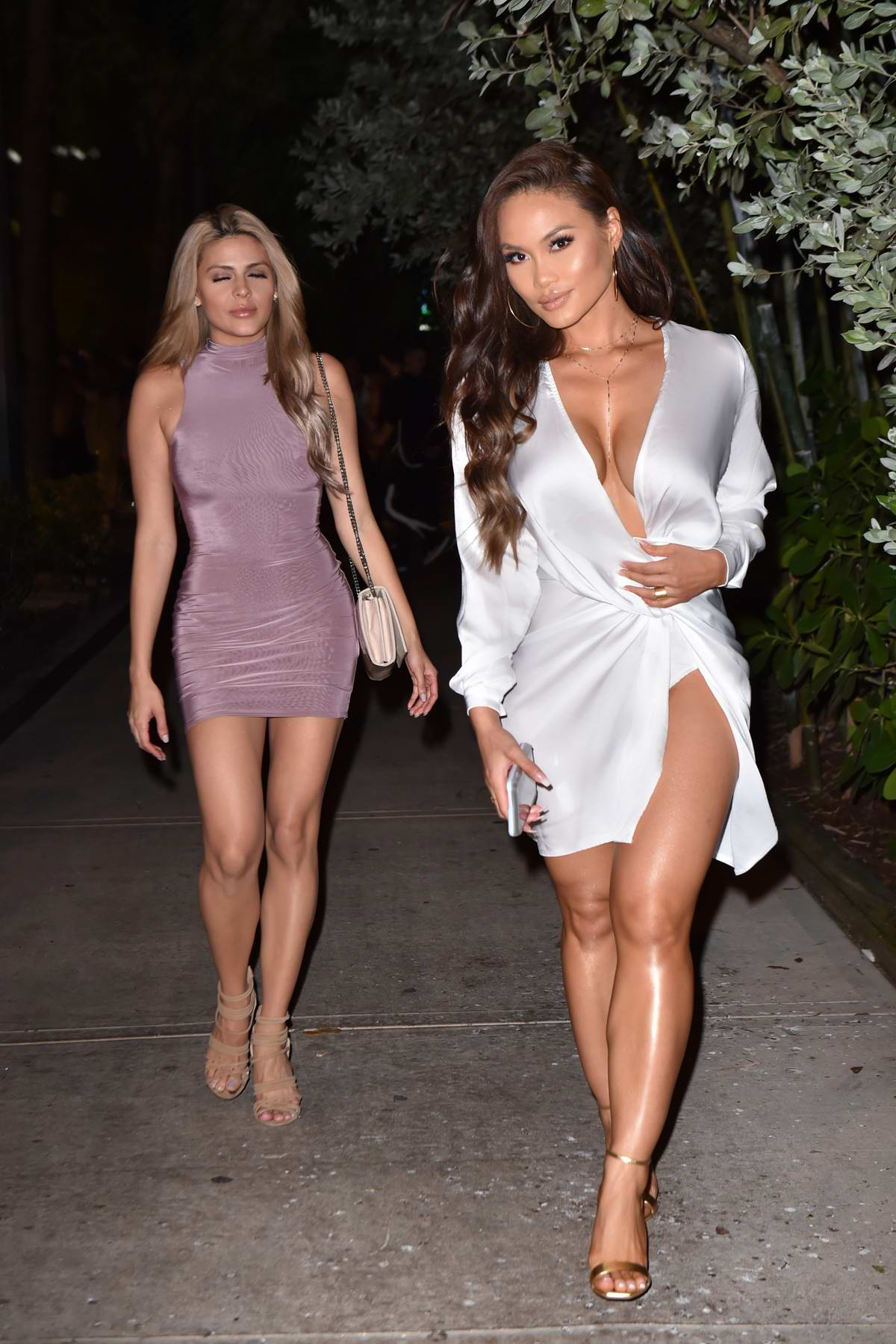 Daphne Joy heads to dinner at Kiki on the River in Miami, Florida