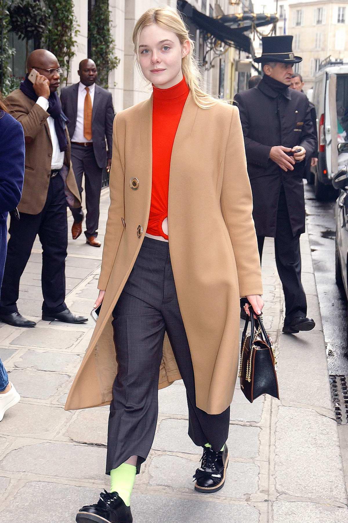 Elle Fanning arrives at The Bristol Hotel during the fashion week in Paris, France