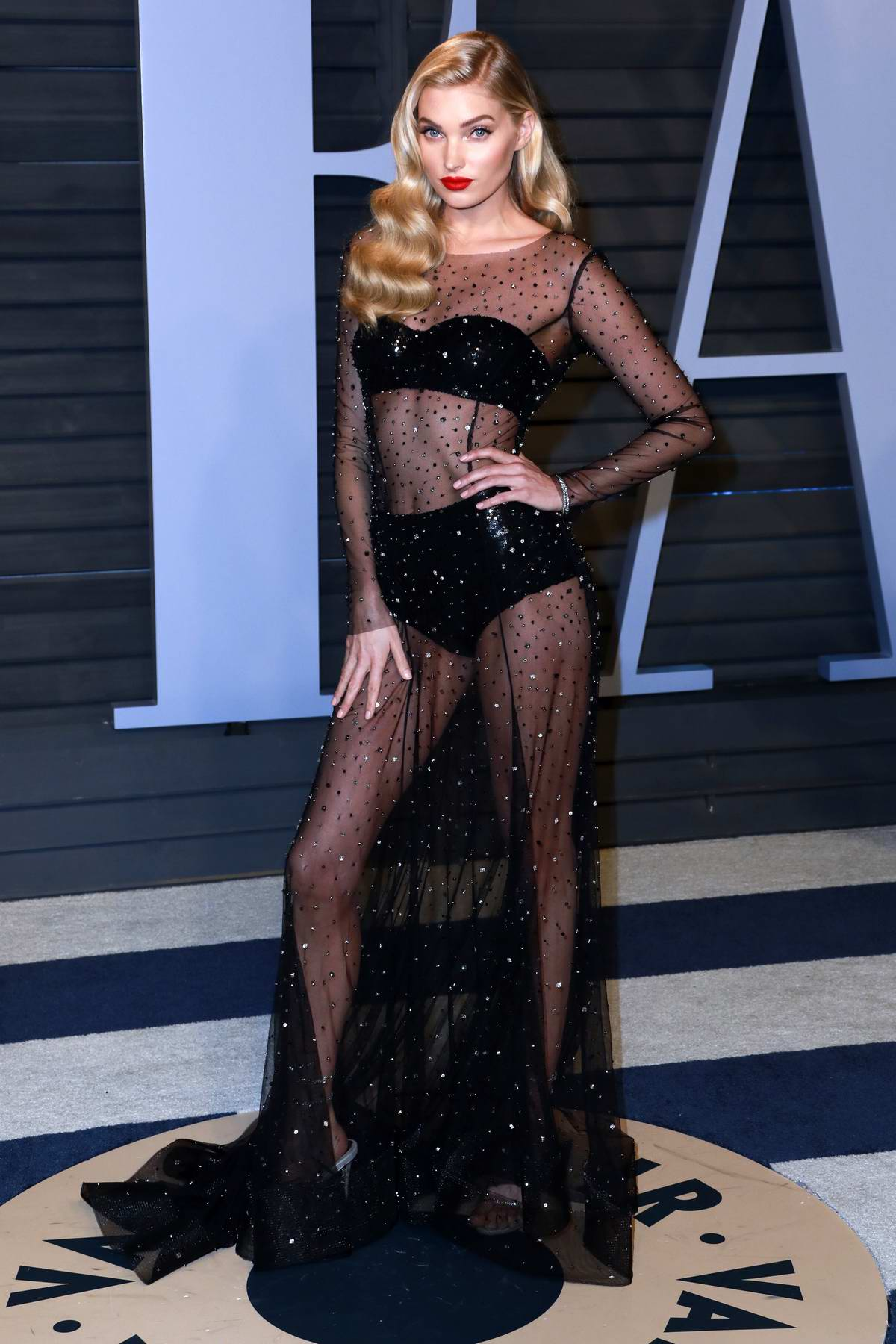 Elsa Hosk attends 2018 Vanity Fair Oscar Party at the Wallis Annenberg Center for the Performing Arts in Beverly Hills, Los Angeles