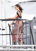 Emily Ratajkowski uses the public restrooms while attending the Independent Spirit Awards in Santa Monica, Los Angeles