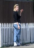 Emma Roberts spotted during a smoking break in Los Angeles