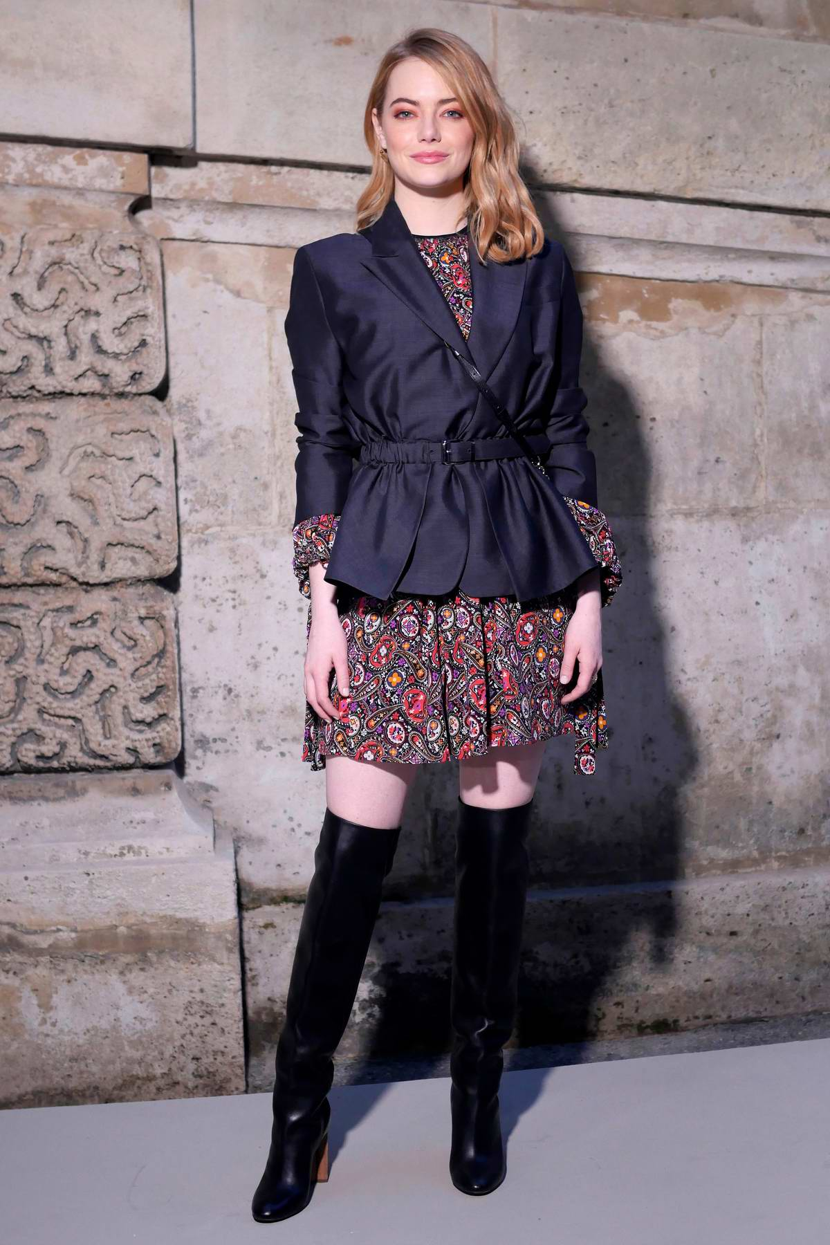 Emma Stone attends Louis Vuitton Show, Fall Winter 2018 during Paris Fashion Week, France