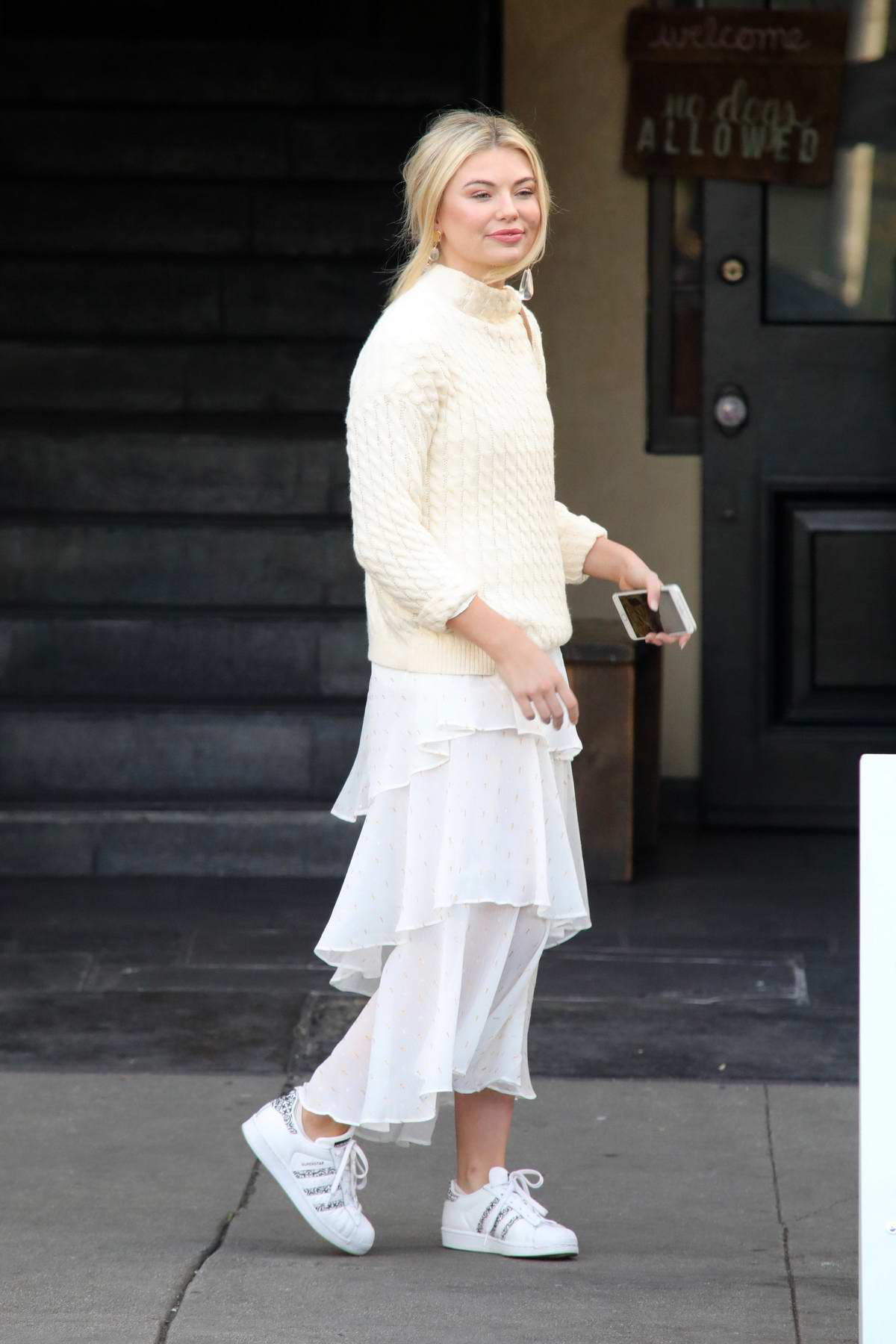 Georgia Toffolo dressed in all while as she leaves Kate Somerville Skin Health Clinic in Los Angeles