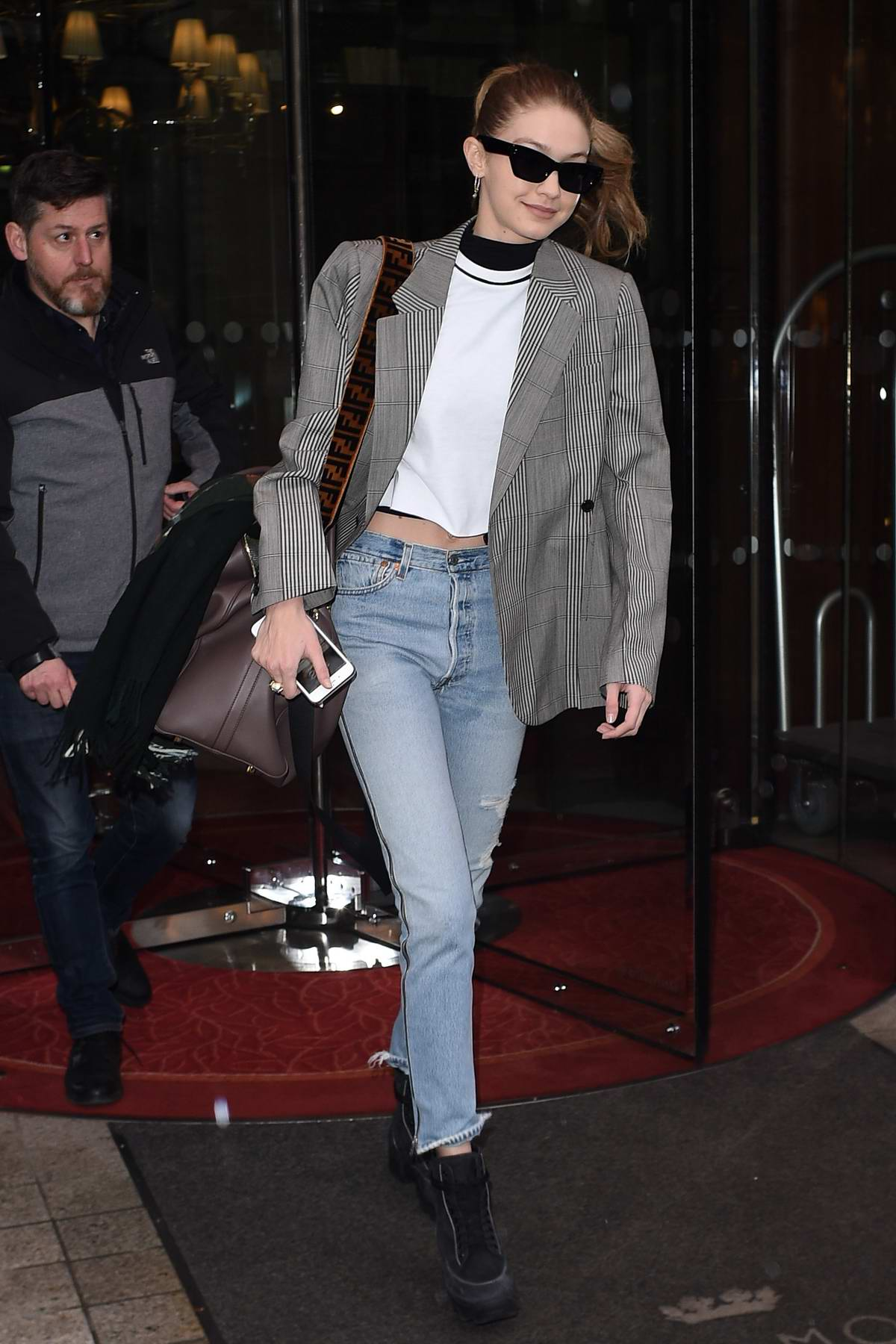Gigi Hadid leaves The Royal Monceau Hotel in Paris as she flies back to New York