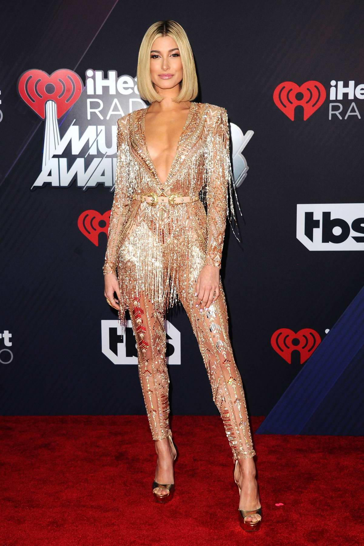 Hailey Baldwin attends the 2018 iHeartRadio Music Awards at The Forum in Inglewood, California