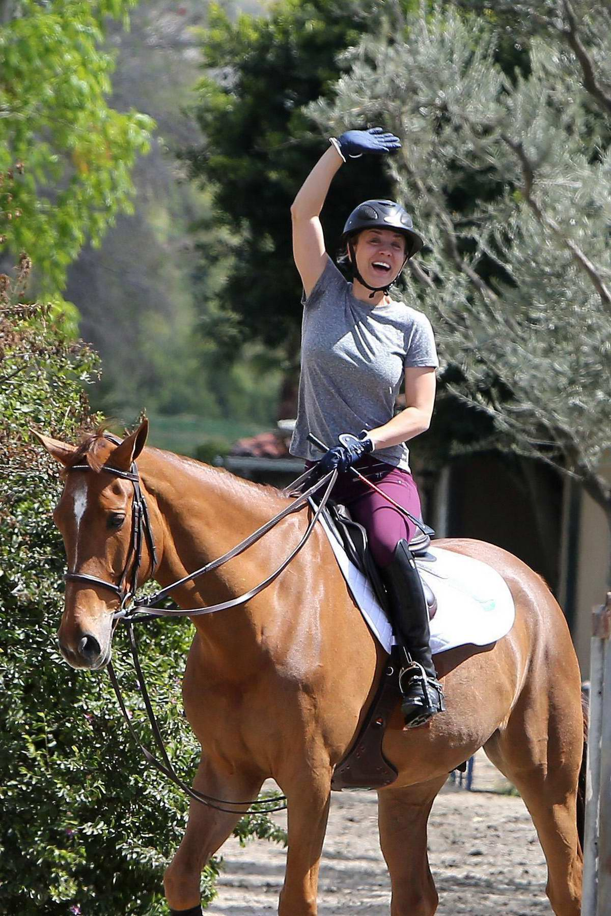 Kaley Cuoco looked in a cheery mood during a horse riding session in Los Angeles