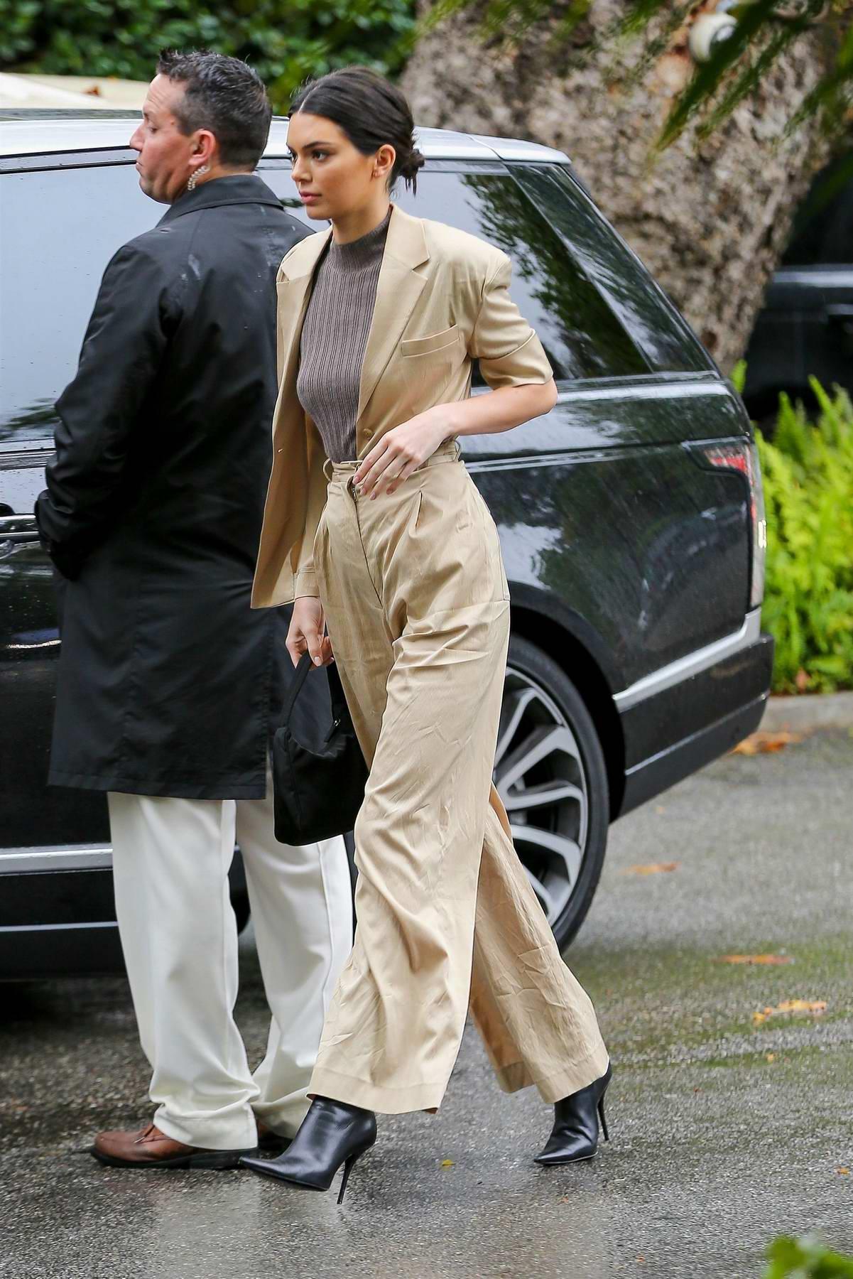 Kendall Jenner arrives at Khloe Kardashian's baby shower in Bel Air, Los Angeles