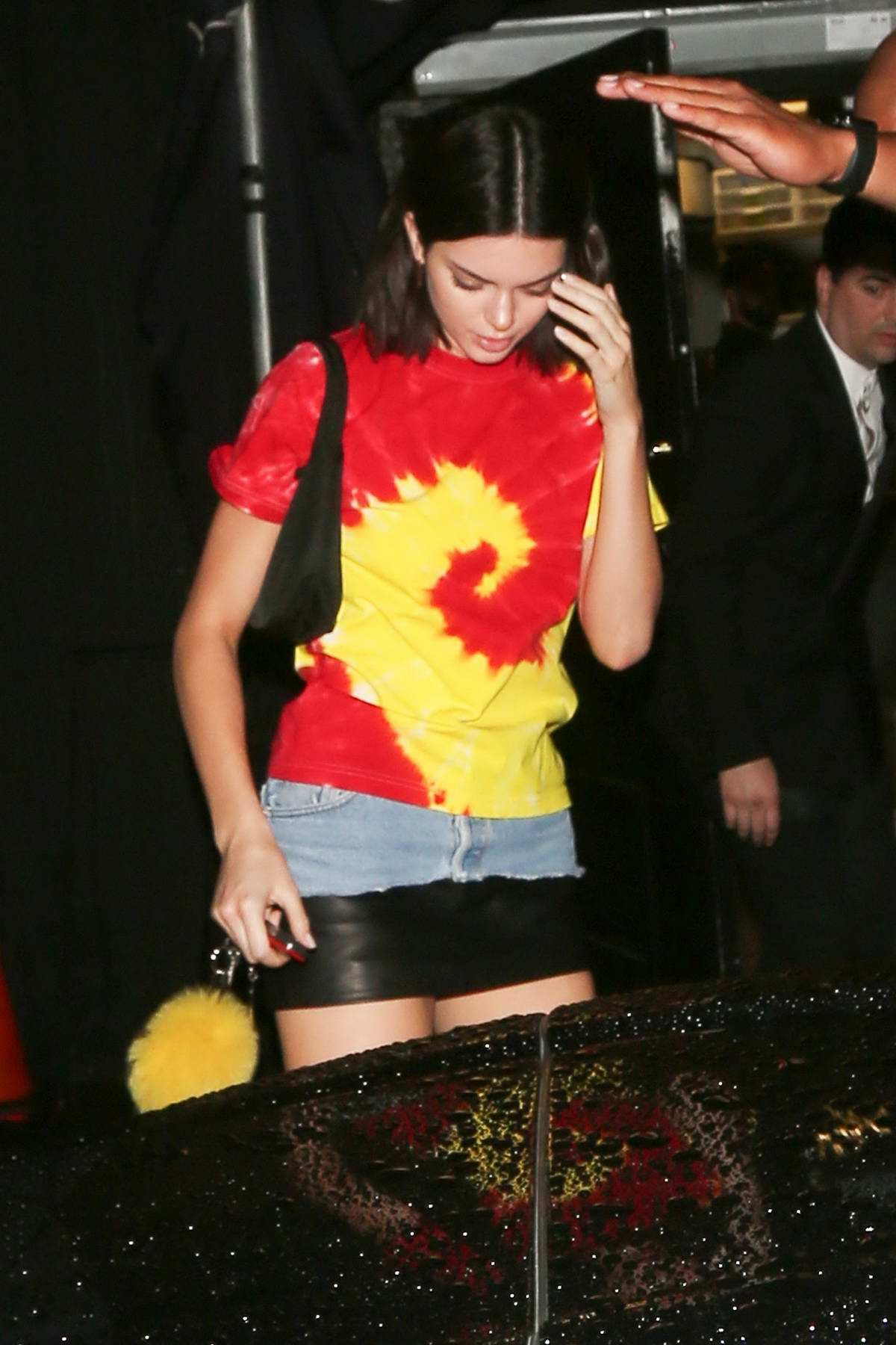 Kendall Jenner spotted in a red and yellow top while she leaves The Nice Guy in West Hollywood, Los Angeles