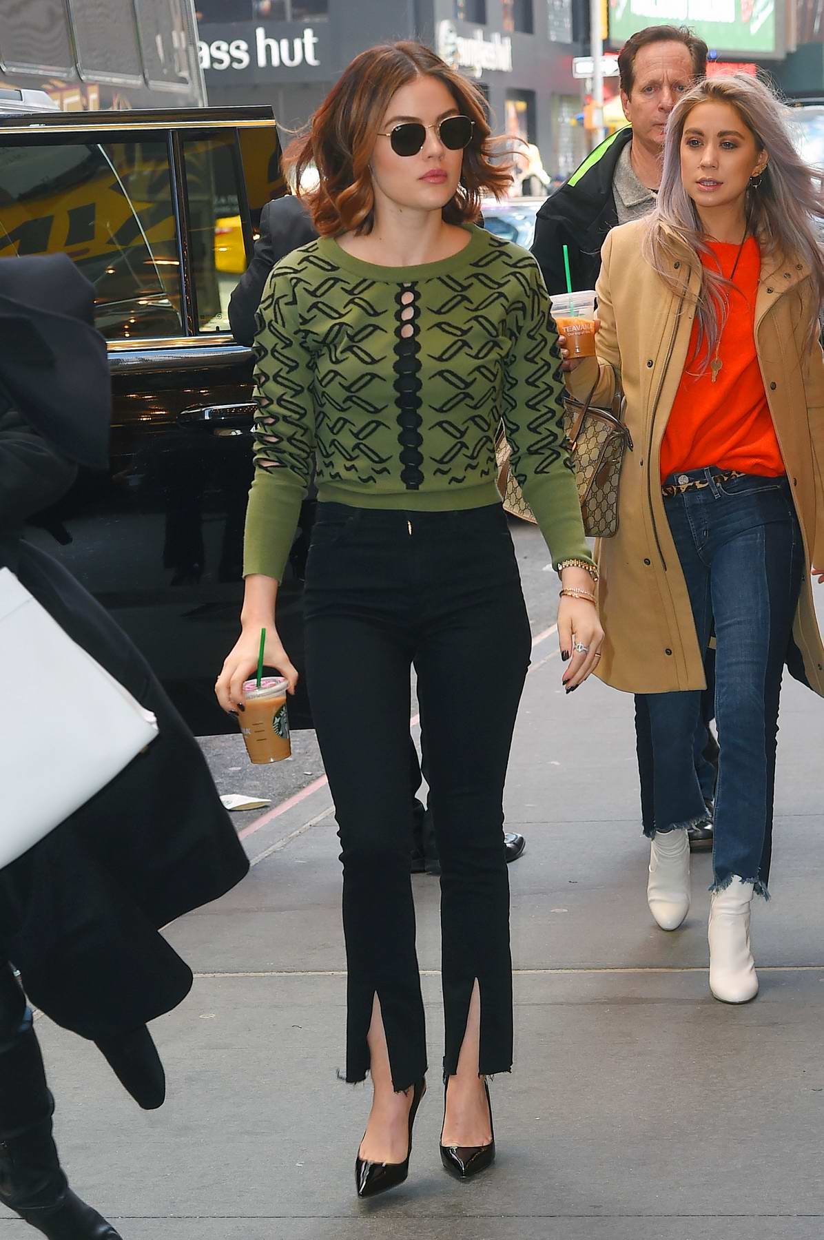 Lucy Hale spotted arriving at MTV's TRL in Times Square, New York City