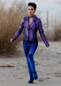 Natalie Portman rocks glam punk look on the set of her upcoming film 'Vox Lux' on Plumb beach, New York